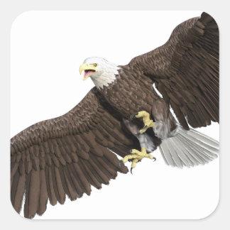 Weißkopfseeadler mit Flügeln auf unten streichen Quadratischer Aufkleber