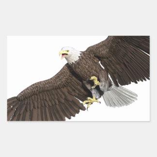 Weißkopfseeadler mit Flügeln auf unten streichen Rechteckiger Aufkleber