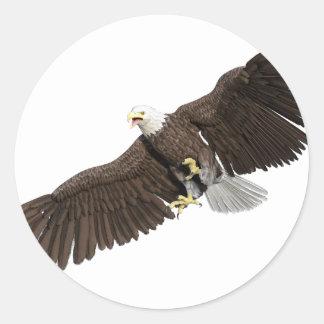Weißkopfseeadler mit Flügeln auf unten streichen Runder Aufkleber