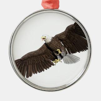 Weißkopfseeadler mit Flügeln auf unten streichen Rundes Silberfarbenes Ornament