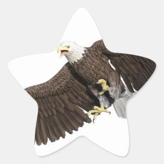 Weißkopfseeadler mit Flügeln auf unten streichen Stern-Aufkleber