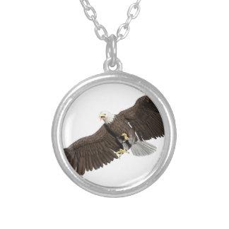 Weißkopfseeadler mit Flügeln auf unten streichen Versilberte Kette