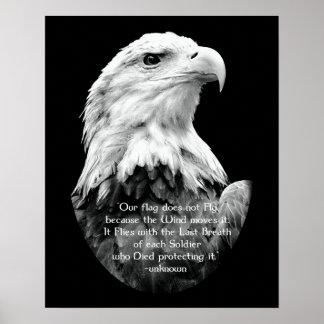 Weißkopfseeadler mit patriotischem Zitat Poster