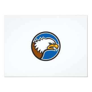 Weißkopfseeadler-schreiender Hauptkreis Retro 16,5 X 22,2 Cm Einladungskarte