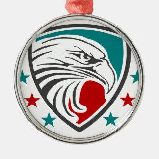 Weißkopfseeadler-Sicherheit und Schutz Rundes Silberfarbenes Ornament