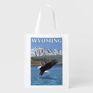Weißkopfseeadler-Tauchen - Wyoming Wiederverwendbare Tragetaschen