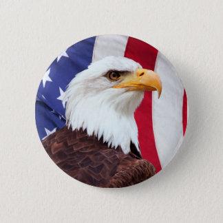 Weißkopfseeadler und amerikanische Flagge Runder Button 5,7 Cm