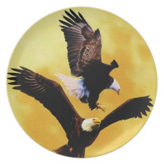 Weißkopfseeadler und Vollmond Teller