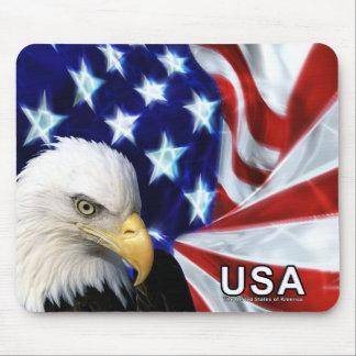 Weißkopfseeadler USA-Flaggen-Mausunterlage Mousepad