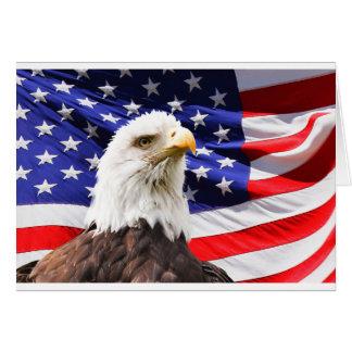Weißkopfseeadler vor Amerikaner Flg Grußkarte