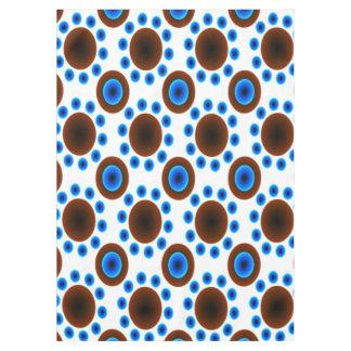 Weißpunkte des blauen Brauns der Tischdecke Retro