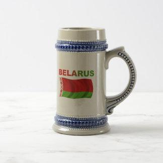 Weißrussland-Flagge (gewellt) Bierglas