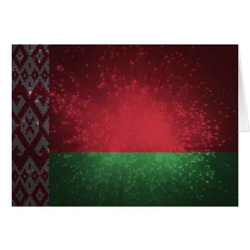 Weißrussland-Flaggen-Feuerwerk Grußkarte
