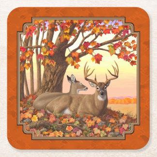 Weißwedelhirsch-Ahornbaum-Herbst-Orange Rechteckiger Pappuntersetzer