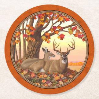 Weißwedelhirsch-Ahornbaum-Herbst-Orange Runder Pappuntersetzer