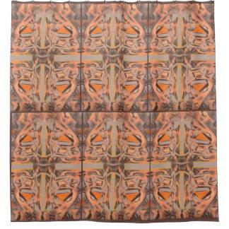 Weit heraus in orange und grauem abstraktem duschvorhang