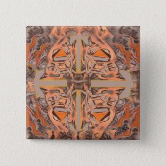 Weit heraus in orange und grauem abstraktem quadratischer button 5,1 cm