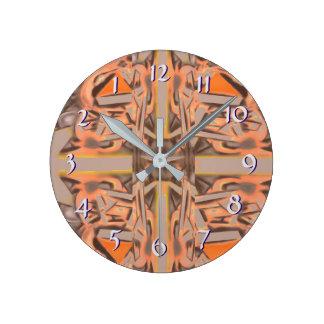 Weit heraus in orange und grauem abstraktem runde wanduhr