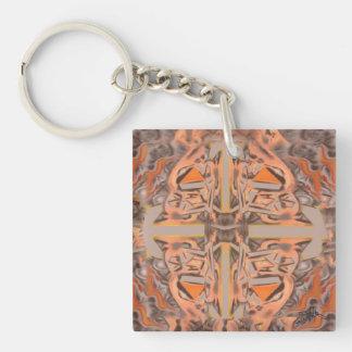 Weit heraus in orange und grauem abstraktem schlüsselanhänger