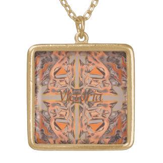 Weit heraus in orange und grauem abstraktem vergoldete kette