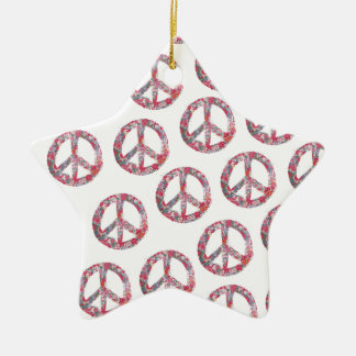 Weit zu hübsche Blumenfriedenssymbole Keramik Stern-Ornament