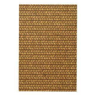 Weizen-Farbkorbgeflecht-Muster-Beschaffenheit Holzleinwand