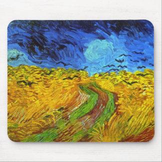 Weizen-Feld mit Krähen-Van- Goghschöner Kunst Mauspads