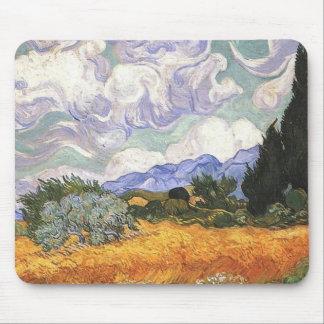 Weizen-Feld mit Zypresse durch Van Gogh. Mousepad