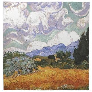 Weizen-Feld mit Zypresse durch Van Gogh. Serviette