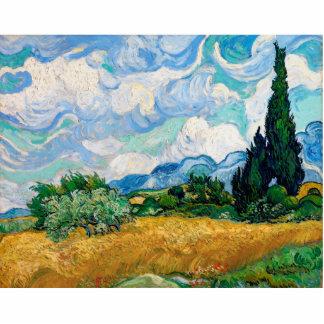 Weizen-Feld mit Zypressen durch Vincent van Gogh Fotoskulptur Button