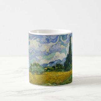 Weizen-Feld mit Zypressen durch Vincent van Gogh Kaffeetasse