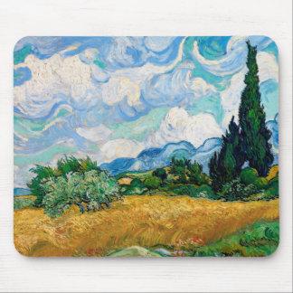 Weizen-Feld mit Zypressen durch Vincent van Gogh Mousepad