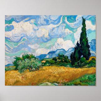 Weizen-Feld mit Zypressen durch Vincent van Gogh Poster