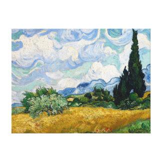 Weizen-Feld mit Zypressen-Leinwand Leinwanddruck