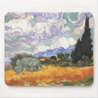 Weizen-Feld mit Zypressen Mousepad