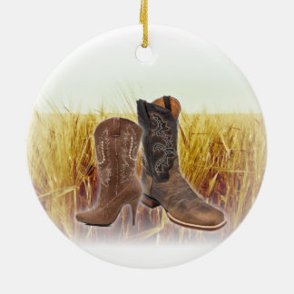 Weizen-Feld-Westernland-Cowboystiefel Keramik Ornament