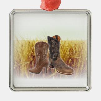 Weizen-Feld-Westernland-Cowboystiefel Silbernes Ornament