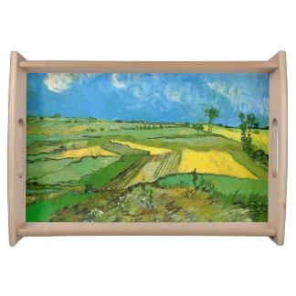 Weizen-Felder bei Auvers unter bewölktem Himmel Tablett