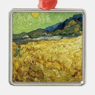 Weizen-Felder mit Sensenmann am Sonnenaufgang - Quadratisches Silberfarbenes Ornament