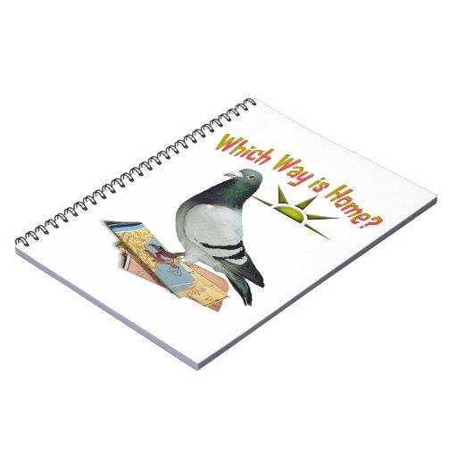 Welche Weise ist Zuhause? Tauben-Kunst Spiral Notizbücher