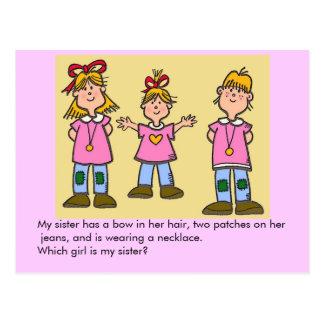 Welches ist meine Schwester? Postkarte