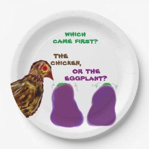 welches kam zuerst? Huhn oder Aubergine? Pappteller
