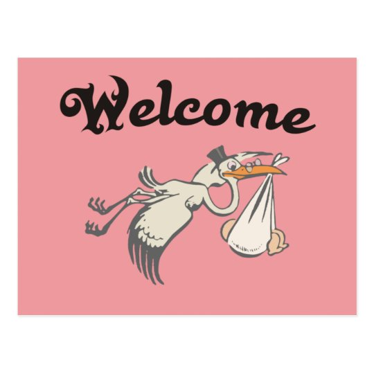 welcome Baby Rose Postkarte