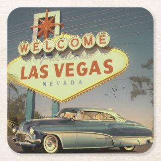 Welcome Las Vegas Rechteckiger Pappuntersetzer