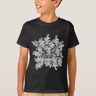 Wellcoda Blumen-Silber-Pistolen-Schädel-Gewehr T-Shirt