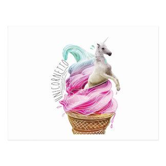 Wellcoda Einhorn Cornetto Spaß-Eiscreme Postkarten