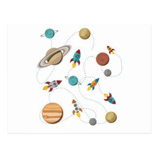 Wellcoda Rocket Raum-Landungs-Mond-Kriege Postkarte