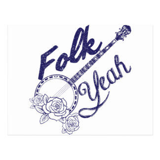 Wellcoda Volk-ja Musik-Leben-Banjo-Schlag Postkarte