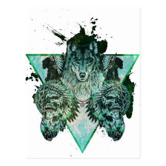 Wellcoda Wolf-indische Fluch-Eingeboren-Kraft Postkarte