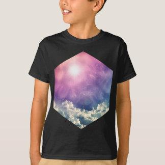 Wellcoda Wolken-Himmel-Hexagon-Liebe-Form-Spaß T-Shirt